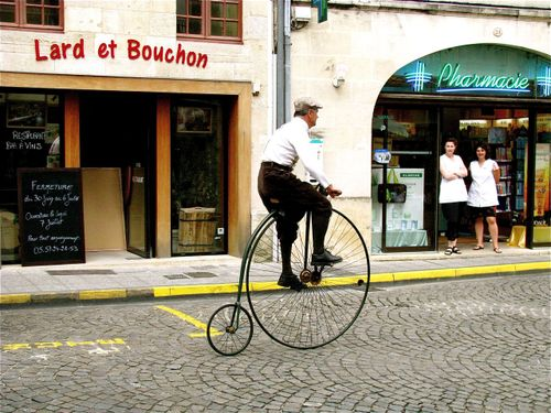 old fashion bicycle in Saint Emilion, France, Bordeaux Penny Farthing, High wheeler, 1800's