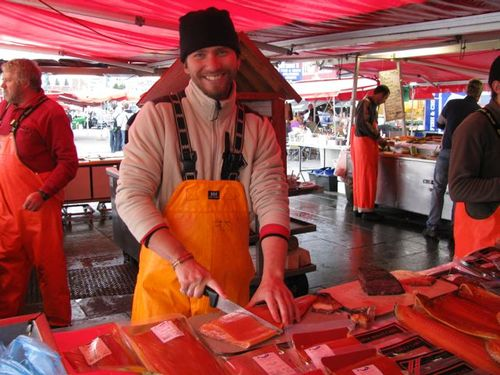 Family Travel Photo - Norway Bergen Fish Market Fresh Salmon
