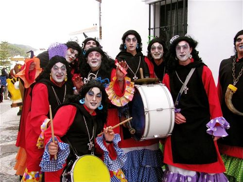 world's best Carnival, drums, Spain, Andalusia, white village, flamenco, dressed in drag