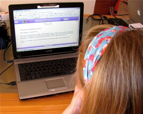 family travel girl on laptop reading books from Library e-books education