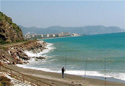 fisherman in Spain, Meditteranean sea, mountains