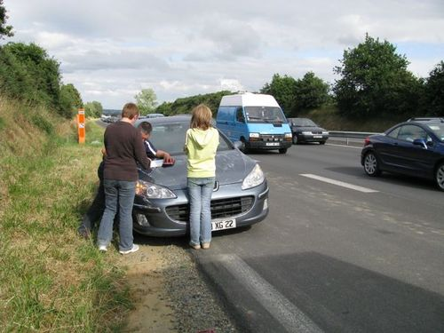 car wreck european road trip accident in France on way to Ireland, dealing with disasters