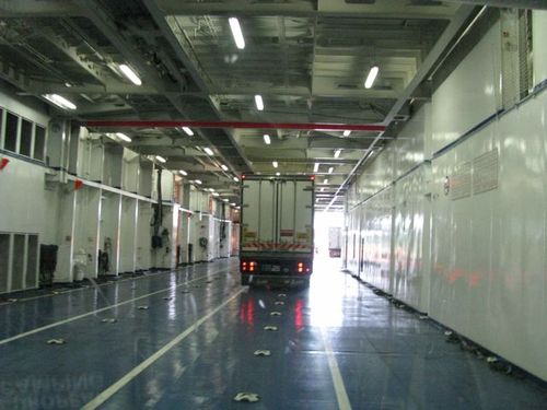 inside Brittany ferry where we parked our motorhome on way from France to Ireland