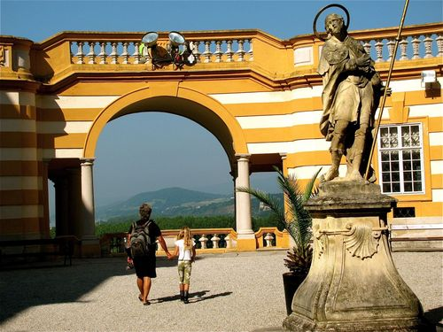 Family travel in Melk Austria enjoying the Abbey and views
