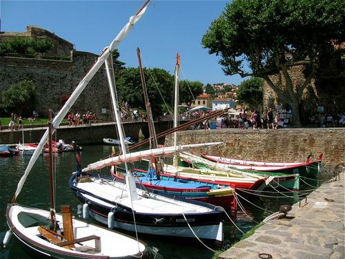 Family travel in picturesque Collioure, France in southern France, sailboats