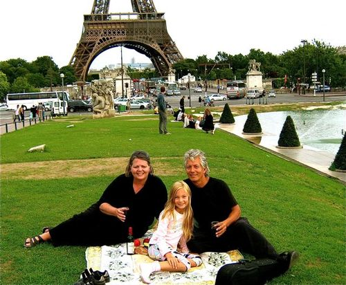 family picnic in Paris at the Eiffel Tower celebrating during travel