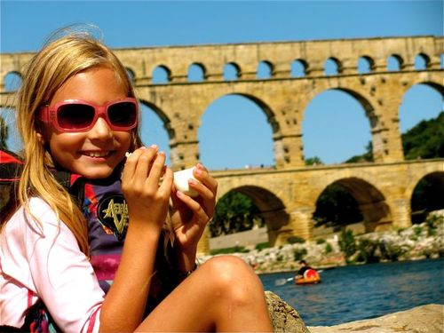 family travel provence france swimming and canoeing pont du gard picnic