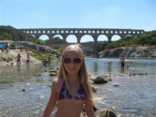 family travel Pont du Gard park Provence France world heritage site