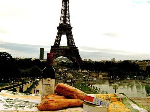 perfect picnic in Paris at the Eiffel tower. stil life