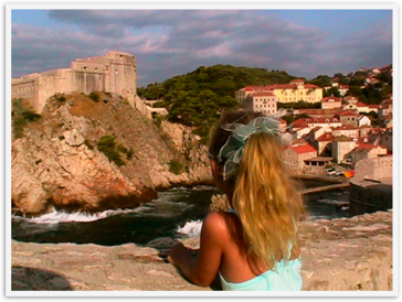 Camping Europe Dubrovnik Family travel Croatia girl view wall