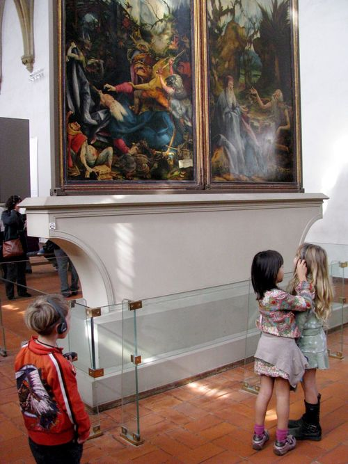 Family travel means kids at a museum in France