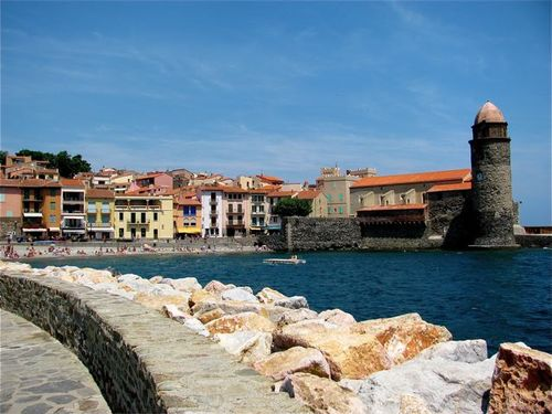 Family travel inCollioure, France on Mediterranean Sea near the Spanish border