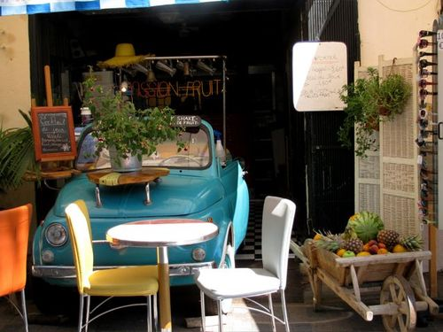 Creperie Bretton in Collioure, France, cute car decoration, travel France