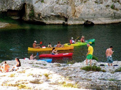 travel Pont du Gard park Provence France canoeing