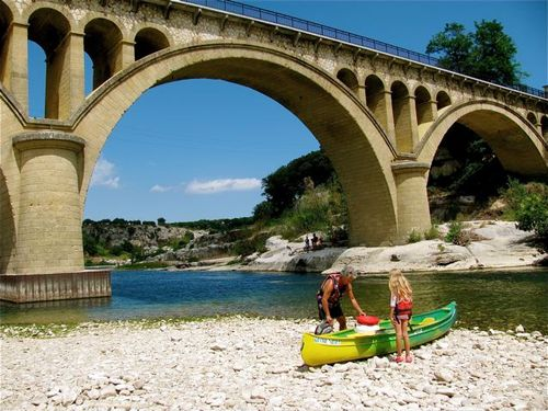 family travel Pont du Gard park Provence France canoeing