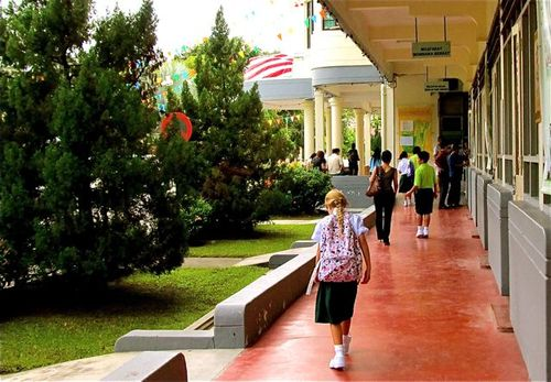 walking the halls of her Chinese high school in Asia on first day