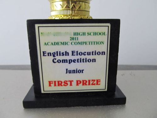 mandarin school first prize trophy for English elocution