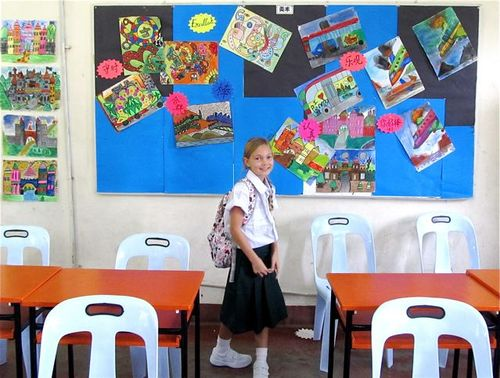 Mozart in her Mandarin School classroom in Malaysia