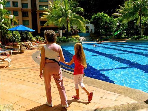 showing grandma the resort pool