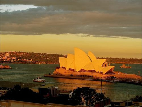 Sydney opera house at sunset from Sydney Harbor YHA hostel