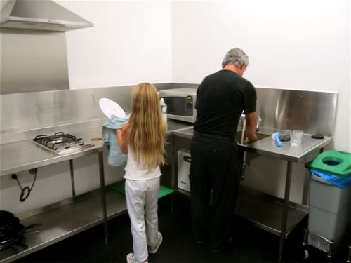 family washing dishes at Sydney Harbor YHA hostel