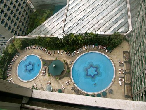 view of pools at fairmont singapore from our room