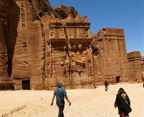 family and guide exploring Petra on foot