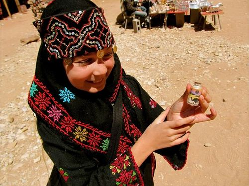 traveling girl with Petra souvenirs
