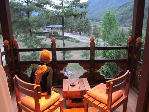 Enjoying our terrace view from the beautiful Zhiwa Ling Hotel near Tiger's Nest in Bhutan