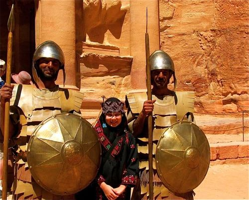 meeting guards and kid at Petra
