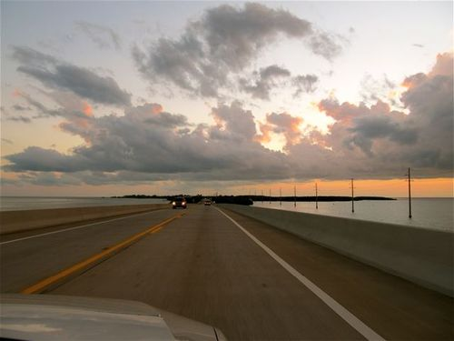 famous Hwy 1 to Key West at Sunset on 7 mile bridge
