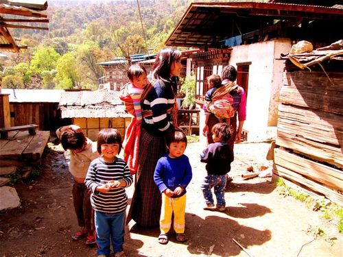 Bhutanese kids and moms