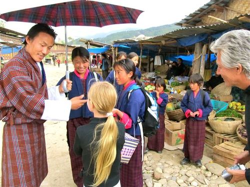 Bhutan vacation - meeting new friends at small market