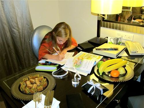 Our daughter working on Mandarin daily, here in Jordan at Four Seasons Amman