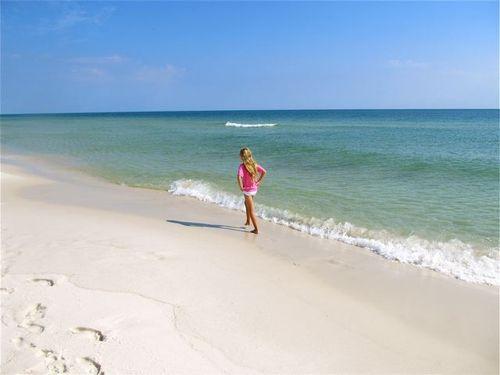 relaxing walk on beautiful beach