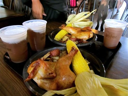 Butter beer and food at 3 Broomsticks at Wizarding World
