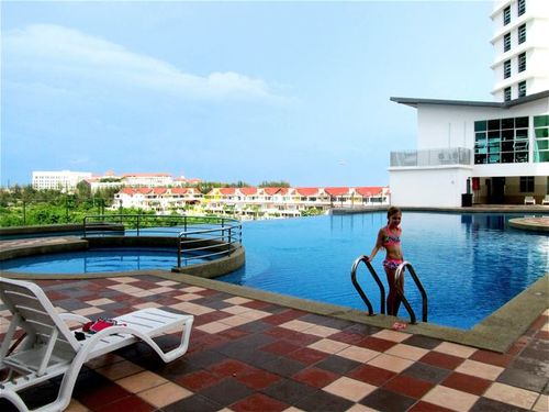 Penang condo with infinity pool with sea views, work out room above, 2 saunas and a large jacuzzi