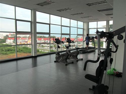 I love working out here with fab sea views and air conditioning, plus I usually have it to myself!