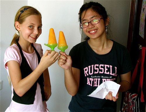 sharing her homemade healthy popsicle with a friend
