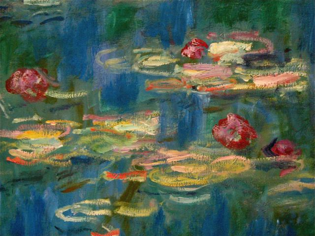 Claude Monet's water lily painting detail