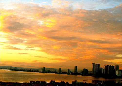 beautiful Asian picture-perfect sunset in Penang