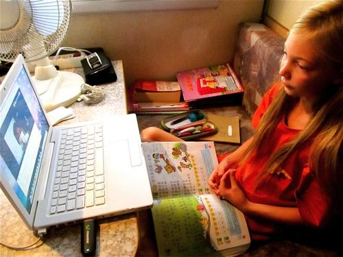 Working on Mandarin in RV in Spain with teacher in Asia