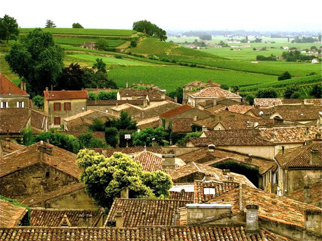 stunning St. Emilion, France ancient rooftops and vineyards