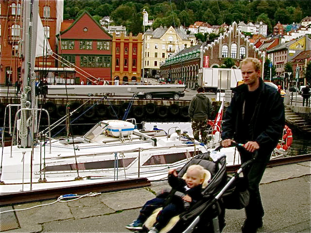 Scandinavian Travel in Bergen, Dad and son