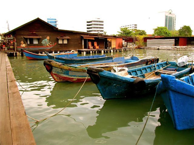 Picturesque fishing boats at the Clan Jetties in Penang