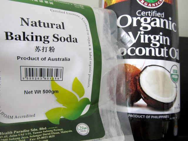 natural baking soda and organic virgin coconut oil