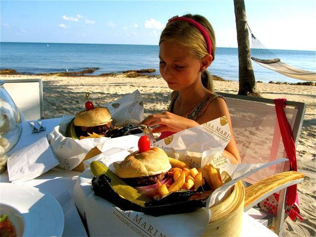 Yummy beach bliss and hamburgers in Key West at sunset