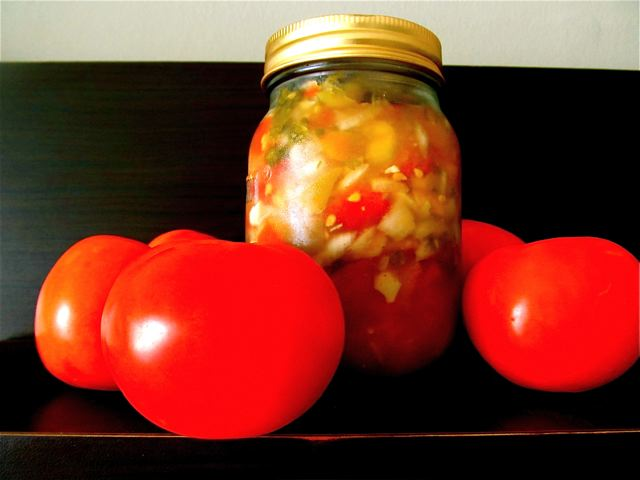 Delicioius homemade easy fermented salsa made from organic tomatoes and ingredients