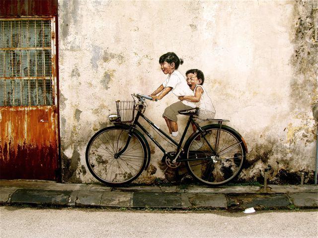 adorable art - two kids on bike