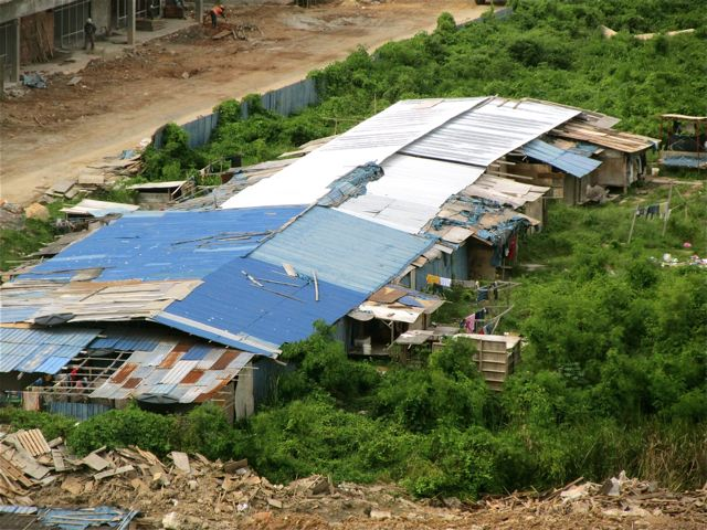 poverty in Asia - construction shanty town
